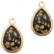 Hanger crystal glas druppel black gold flakes