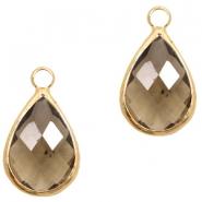 Hanger crystal glas druppel greige crystal goud