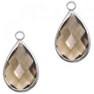 Hanger crystal glas druppel greige crystal zilver