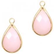 Hanger crystal glas druppel light pink opal gold