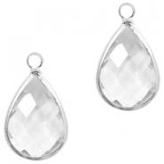 Hanger crystal glas druppel transparant crystal zilver