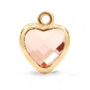 Hanger crystal glas hart vintage pink goud