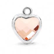 Hanger crystal glas hart vintage pink zilver