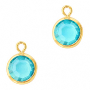 Hanger crystal glas rond aquamarine blue goud