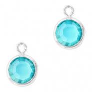 Hanger crystal glas rond aquamarine blue zilver