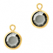 Hanger crystal glas rond black diamond goud