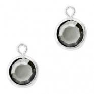 Hanger crystal glas rond black diamond zilver