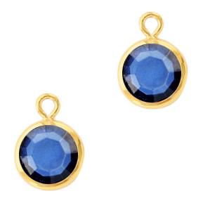 Hanger crystal glas rond denim blue goud