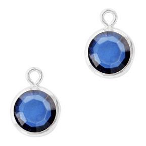 Hanger crystal glas rond denim blue zilver