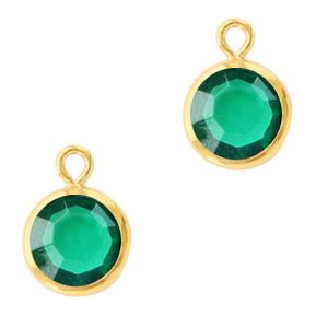 Hanger crystal glas rond emerald green goud