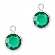Hanger crystal glas rond esmerald green zilver