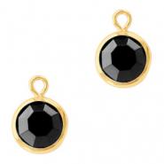 Hanger crystal glas rond jet black goud