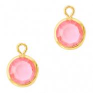 Hanger crystal glas rond light rose goud
