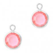 Hanger crystal glas rond light rose zilver