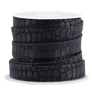 Imitatie leer croco 10mm black grey