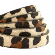 Imitatie leer hairy leopard 10mm beige