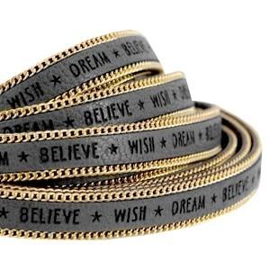 Imitatieleer chain 10mm wish grijs goud