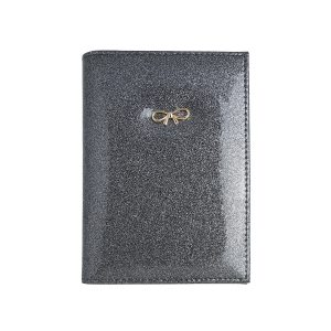 Paspoorthoesje strik glitters grijs