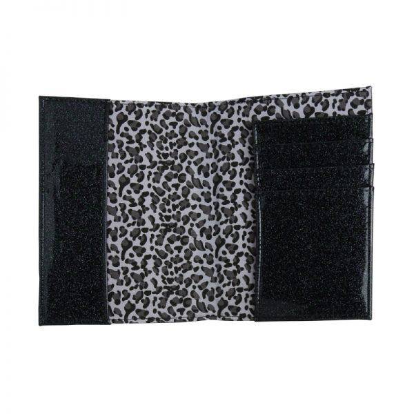 Paspoorthoesje strik glitters zwart binnenkant