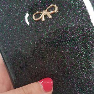 Paspoorthoesje strik zwart glitters voorkant