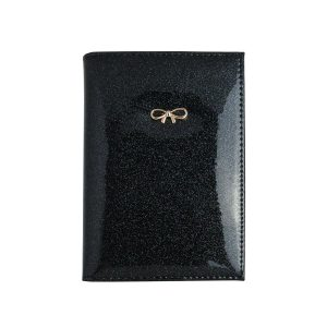 Paspoorthoesjes strik glitter zwart