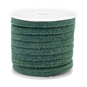 Plat koord denim 5mm esmerald green