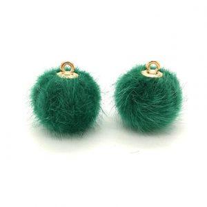 Pompom bedel faux fur green goud