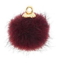 Pompom bedel faux fur port purple red gold