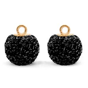 Pompom bedel glitter 12mm black gold