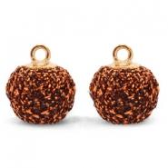 Pompom bedel glitter 12mm copper gold