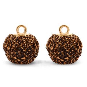 Pompom bedel glitter 12mm dark brown gold