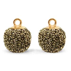 Pompom bedel glitter 12mm gold-anthracite gold
