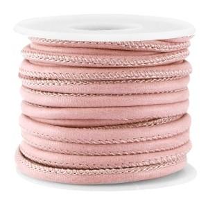 Rond imitatie leer 4x3mm antique pink