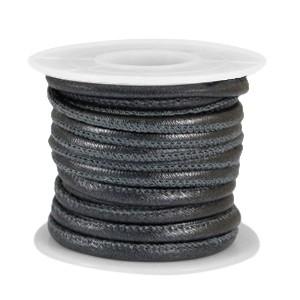 Rond imitatie leer 4x3mm metallic black
