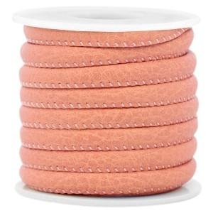 Rond imitatie leer 6x4mm antiek koraal pink