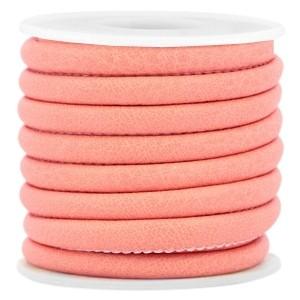 Rond imitatie leer 6x4mm dark coral pink
