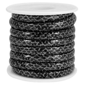 Rond imitatie leer 6x4mm reptiel black grey