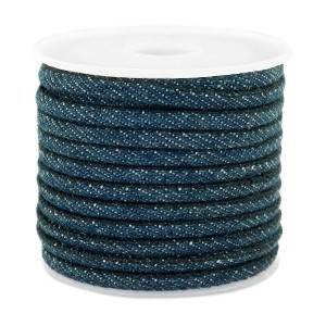 Rond koord denim 4x3mm dark royal blue