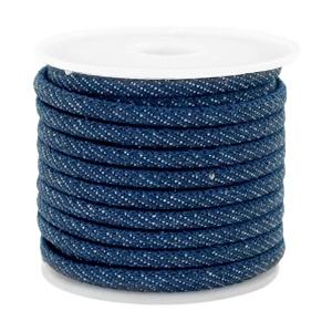 Rond koord denim 4x3mm midnight navy blue