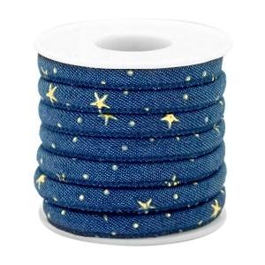 Rond koord denim 6x4mm dark midnight blue golden stars