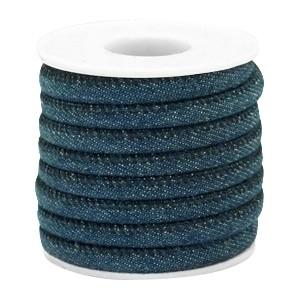 Rond koord denim 6x4mm dark royal blue