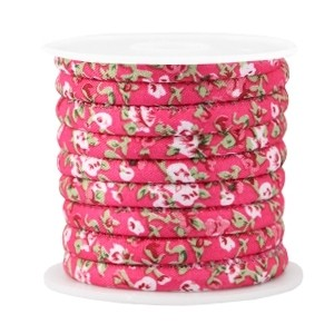 Rond koord flowers 6x4mm hot pink