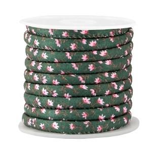Rond koord flowers 6x4mm pine green