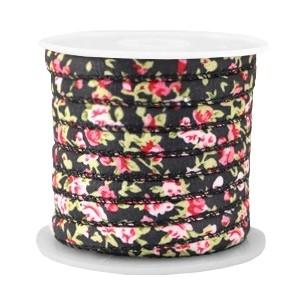 Rond koord flowers 6z4mm black pink
