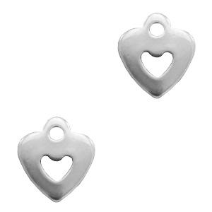 Stainless steel bedel hart zilver