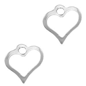 Stainless steel bedel open hart zilver