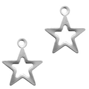Stainless steel bedel open ster zilver