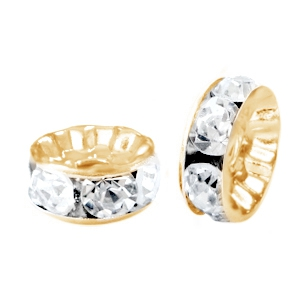 Strass kraal 8mm gold crystal