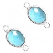 Tussenstuk crystal glas ovaal turquoise blue crystal zilver