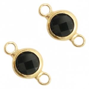 Tussenstuk crystal glas rond black opaque goud